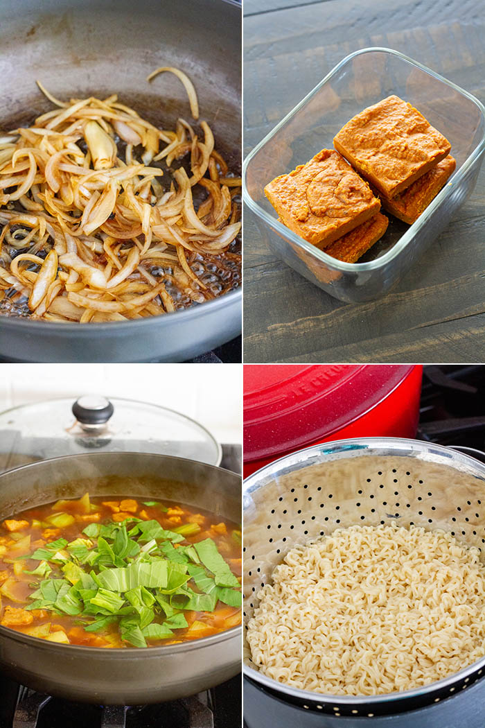 different steps of making curry ramen: sauteing onions, adding curry roux blocks and vegetables, cooking noodles
